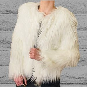 White Fluffy Short Jacket with Faux Fur
